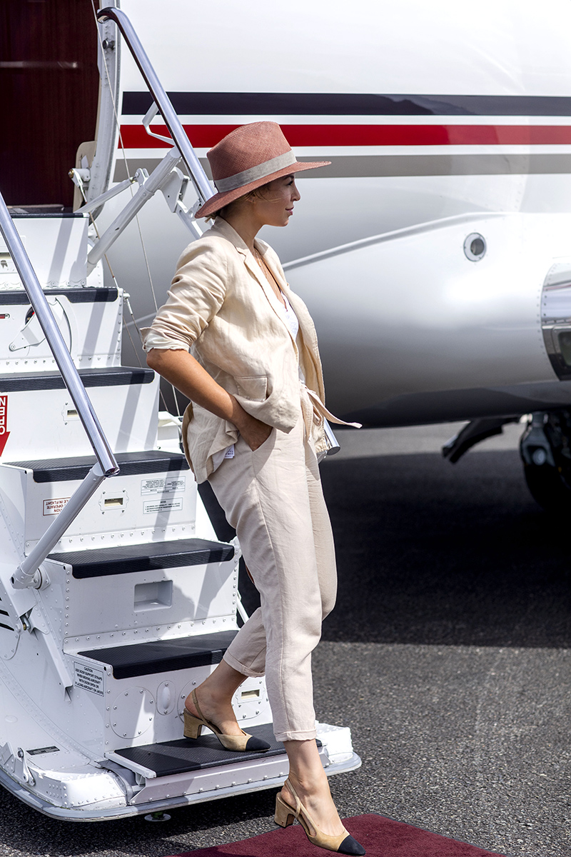 NetsJets Private Aircraft, Travel Outfit, Helena of Brooklyn Blonde