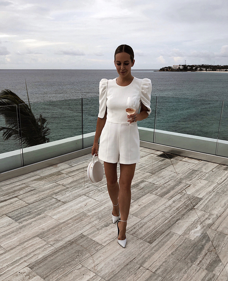 Black Halo Russo White Romper, Anguilla, Travel Ideas and Outfit, Helena of Brooklyn Blonde