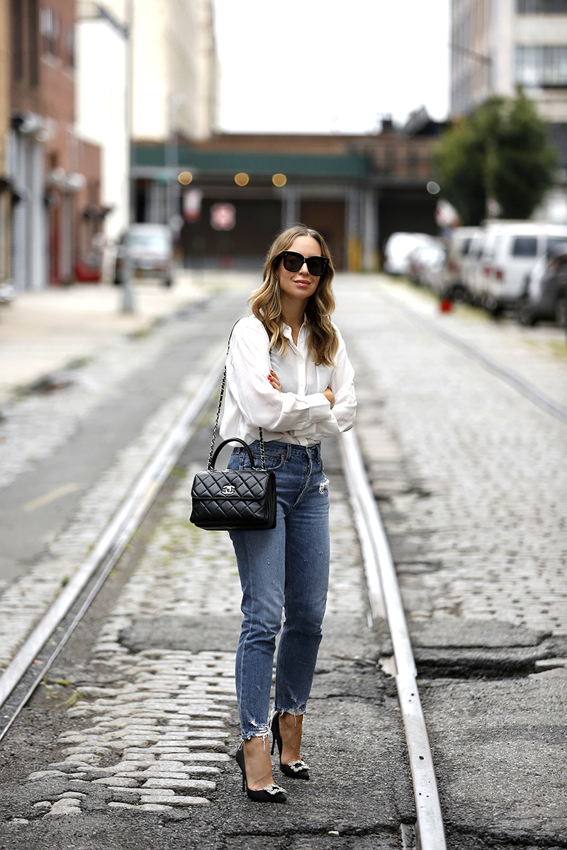 Sheer White Button Down, Blue Denim, Street Style, Helena of Brooklyn Blonde