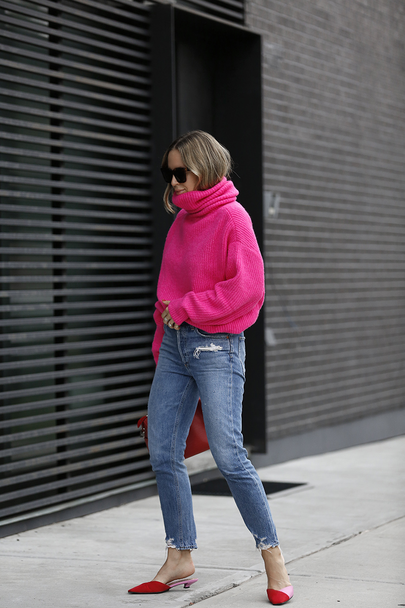 Zara Oversized Pink Sweater, Fall Outfit Inspo, Helena of Brooklyn Blonde