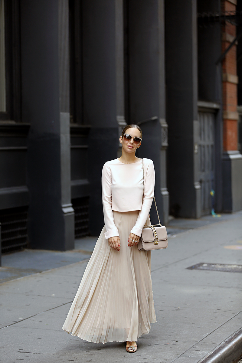 Monochromatic Blush Outfit, Zara Pleated Maxi Skirt, All Saints Blush Leather Jacket, Helena of Brooklyn Blonde