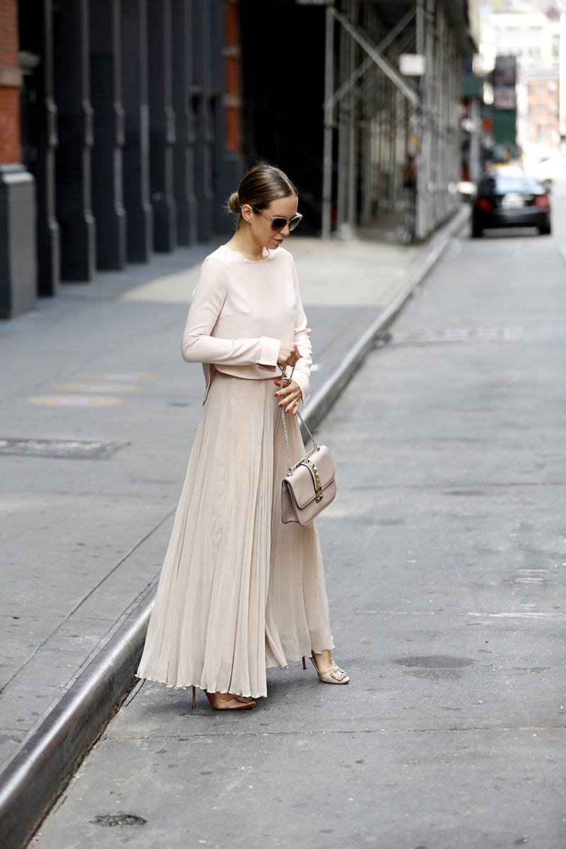 Monochromatic Blush Outfit, Pleated Maxi Skirt, Helena of Brooklyn Blonde