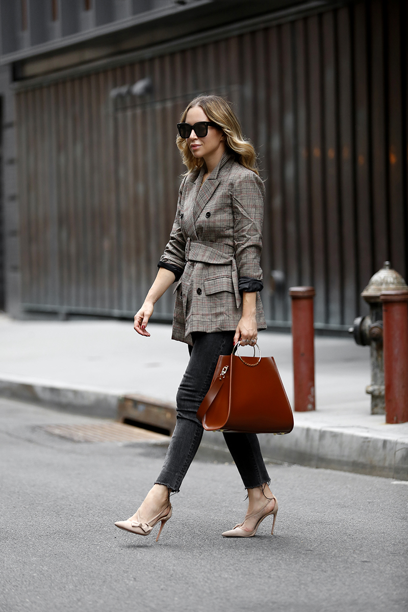 Work Wear, Belted Blazer, ASTR the Label Emerson Plaid Blazer, Fall Outfit, Helena of Brooklyn Blonde