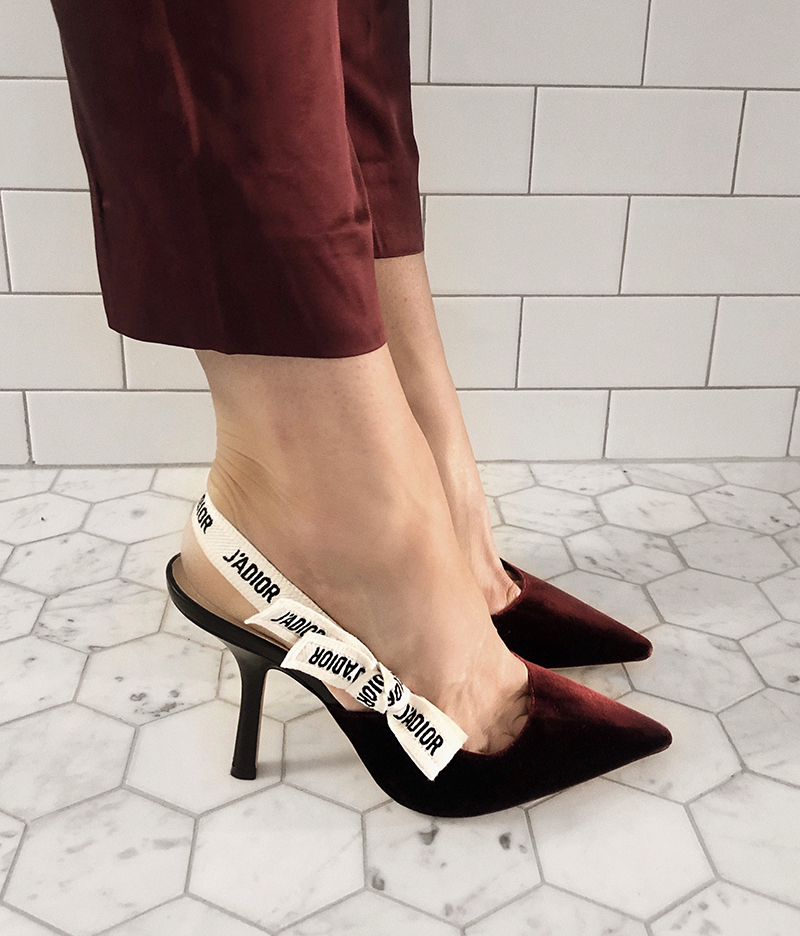 Dior Velvet Suede Slingbacks in Burgundy