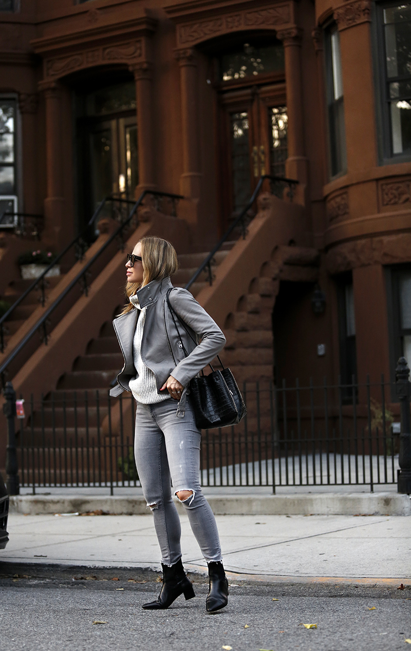 Monochromatic Grey Outfit, Fall Style, Helena of Brooklyn Blonde