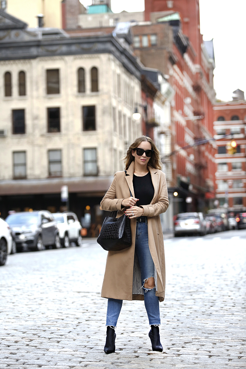 Camel Coat, Mango Leather Bucket Bag, Fall Outfit, NYC Street Style, Helena of Brooklyn Blonde