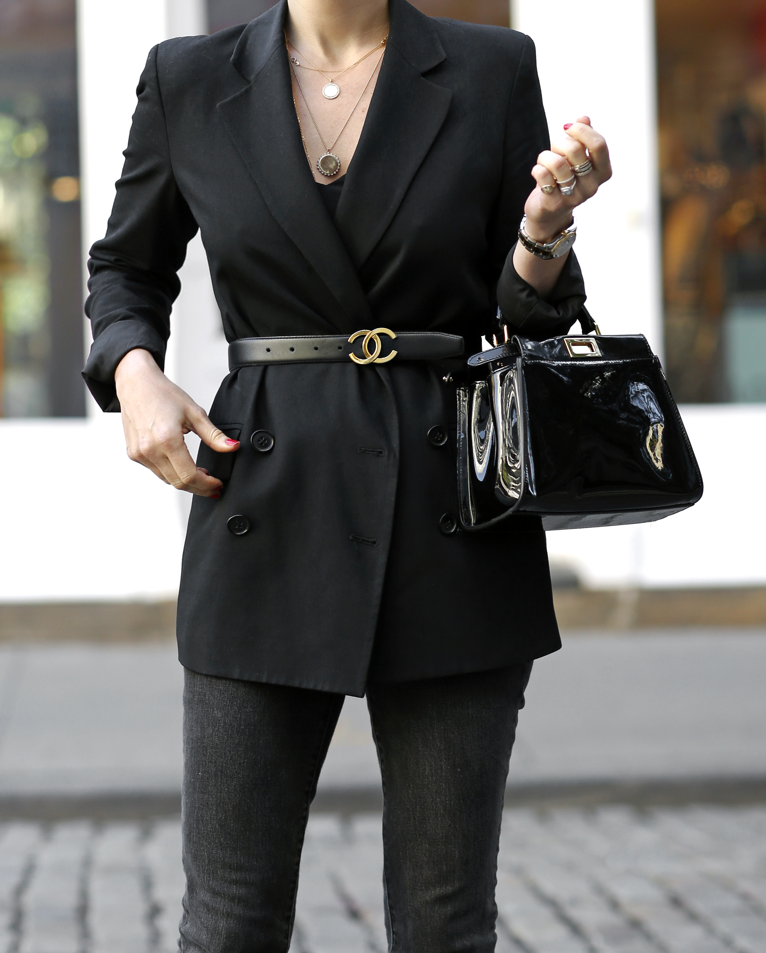 Theory Boyfriend Blazer, Vintage Chanel Belt, Helena of Brooklyn Blonde