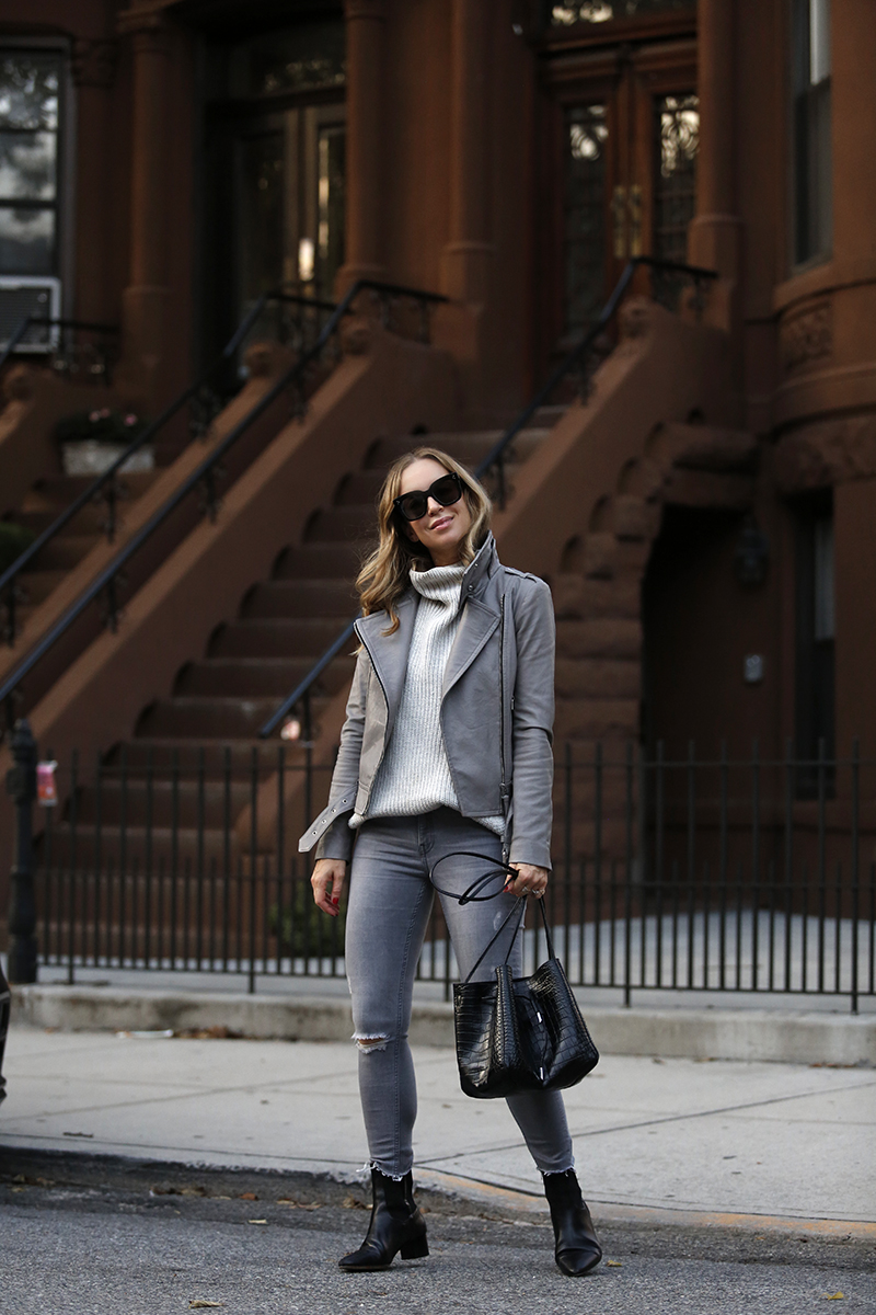 Monochromatic Grey Outfit, Mackage Leather Jacket, Fall Style, Helena of Brooklyn Blonde