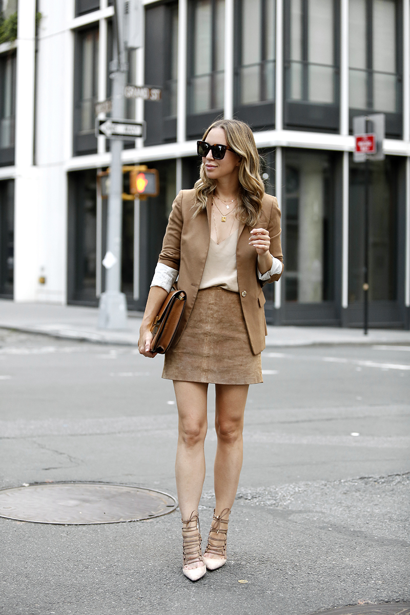 Monochromatic Camel Outfit, Suede Mini Skirt, Fall Style, Helena of Brooklyn Blonde