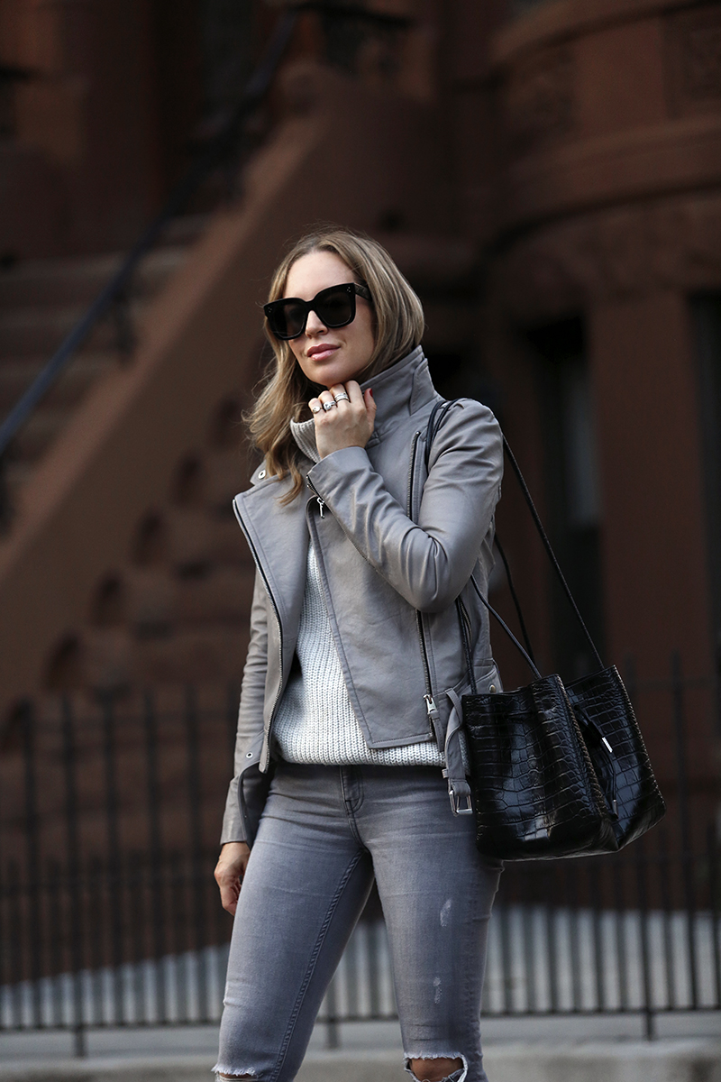 Monochromatic Grey Outfit, Mackage Leather Jacket, Mango Embossed Bag, Fall Style, Helena of Brooklyn Blonde