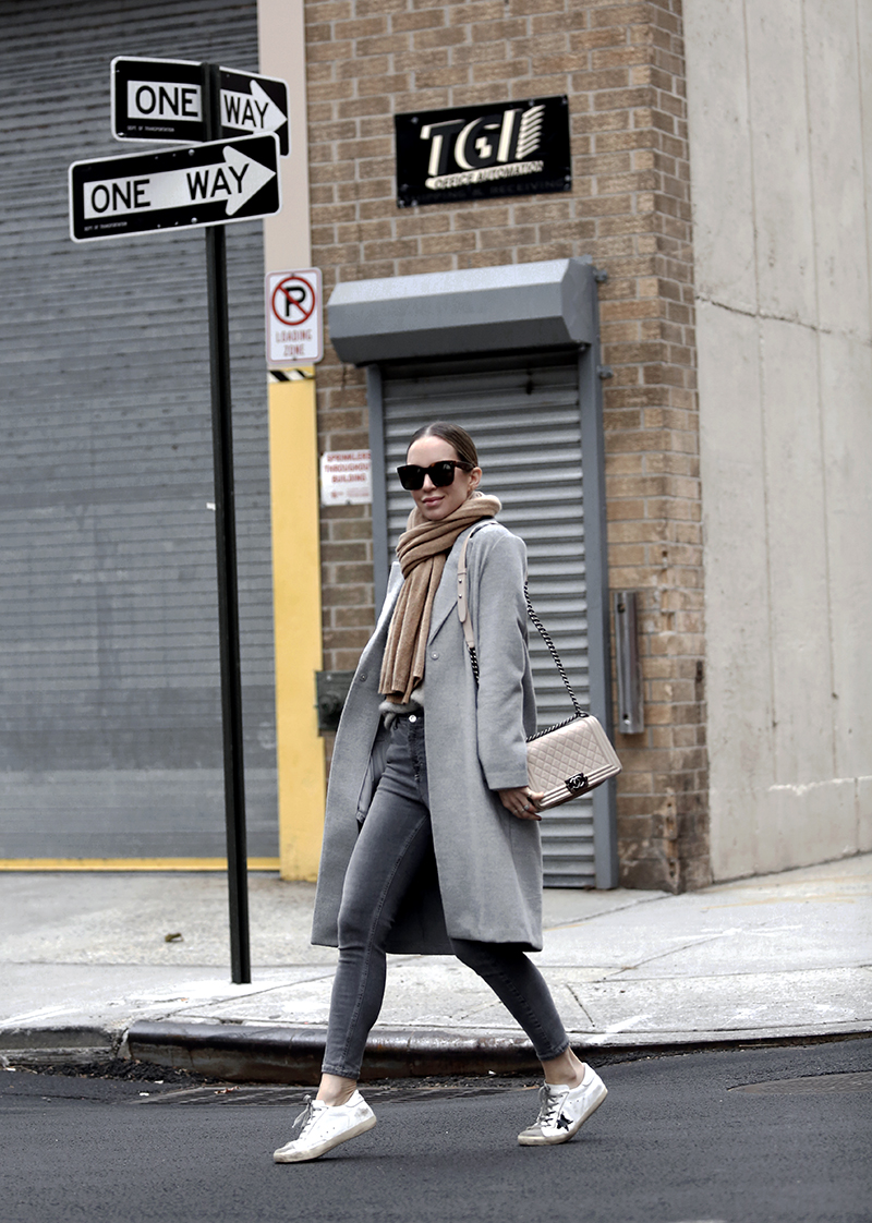 Day Into Night Outfit, Grey Monochromatic Look, Winter Style, Helena of Brooklyn Blonde