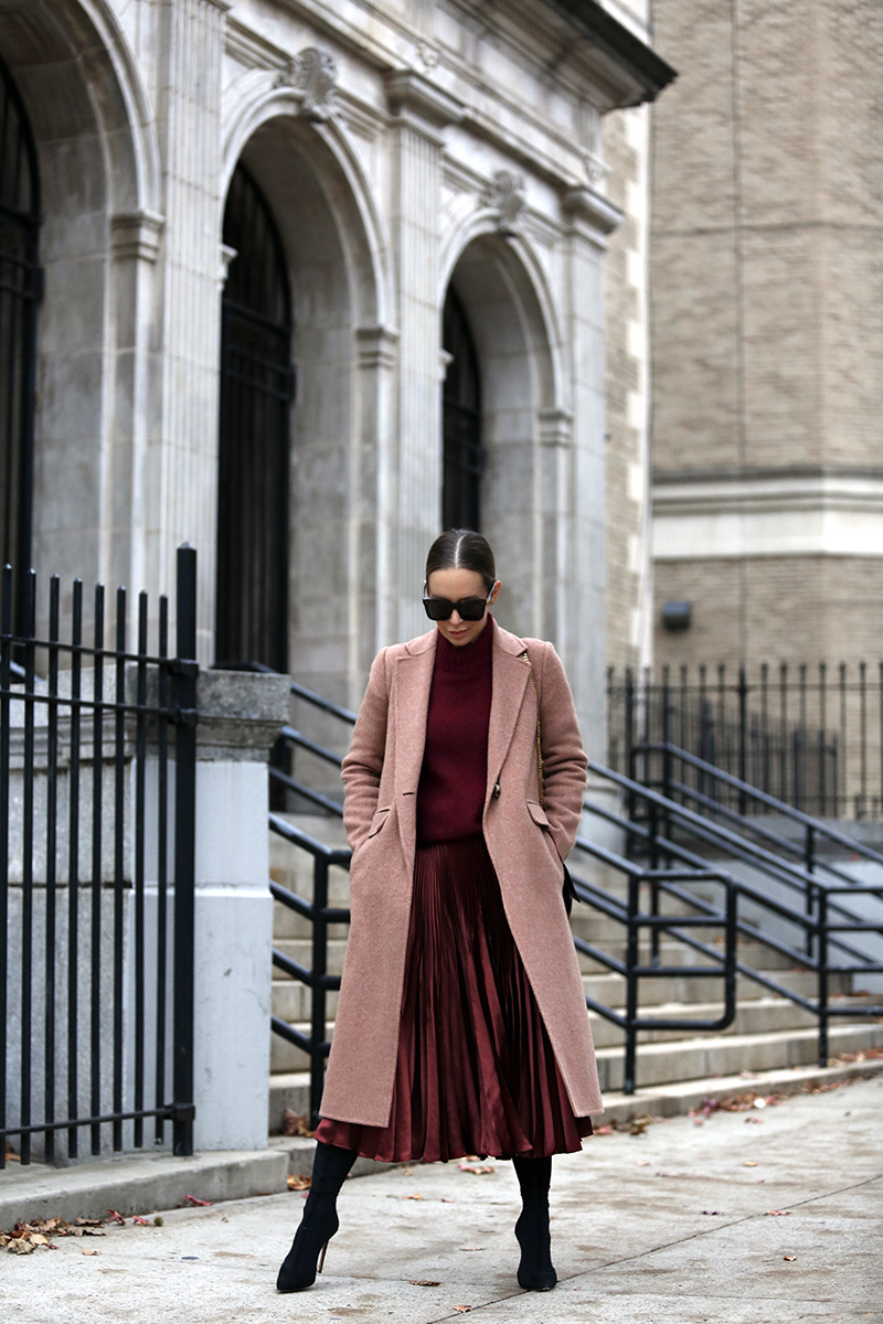 Holiday Dressing, Burgundy Monochromatic Outfit, Pink Wool Coat, Helena of Brooklyn Blonde
