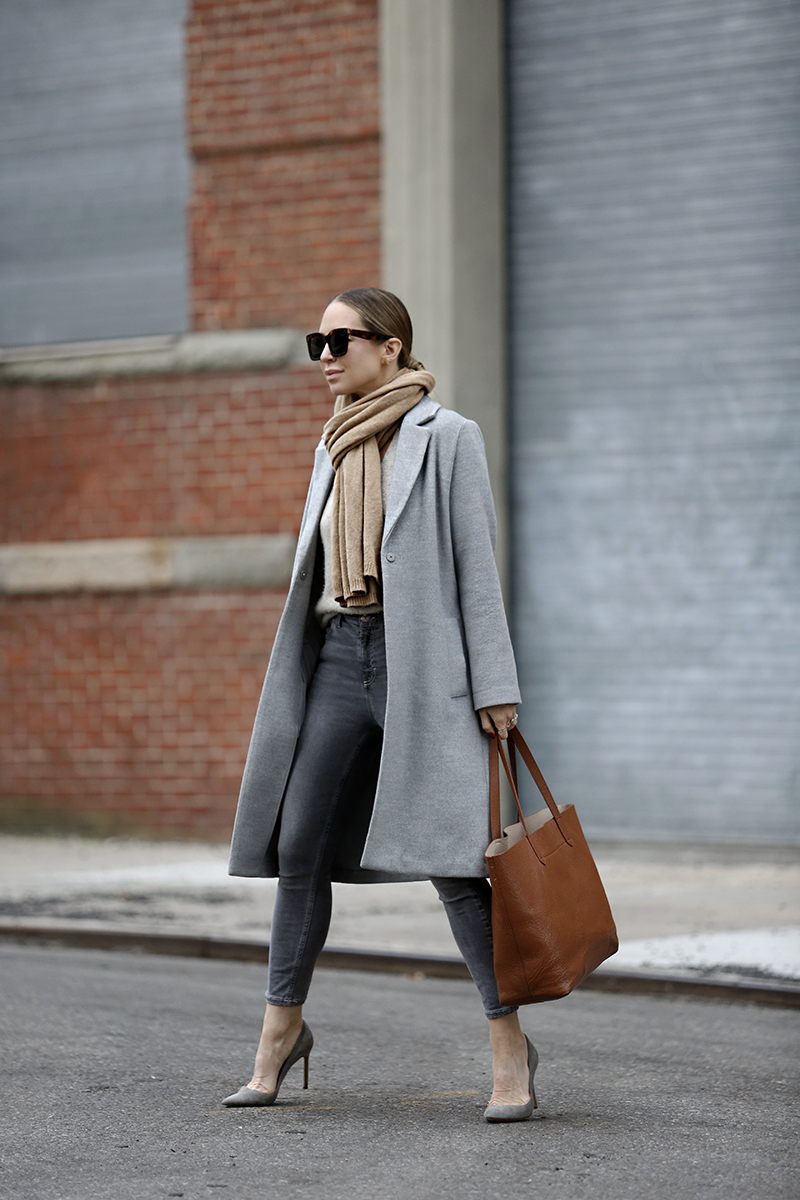 Day Into Night Outfit, Grey Monochromatic Look, Helena of Brooklyn Blonde