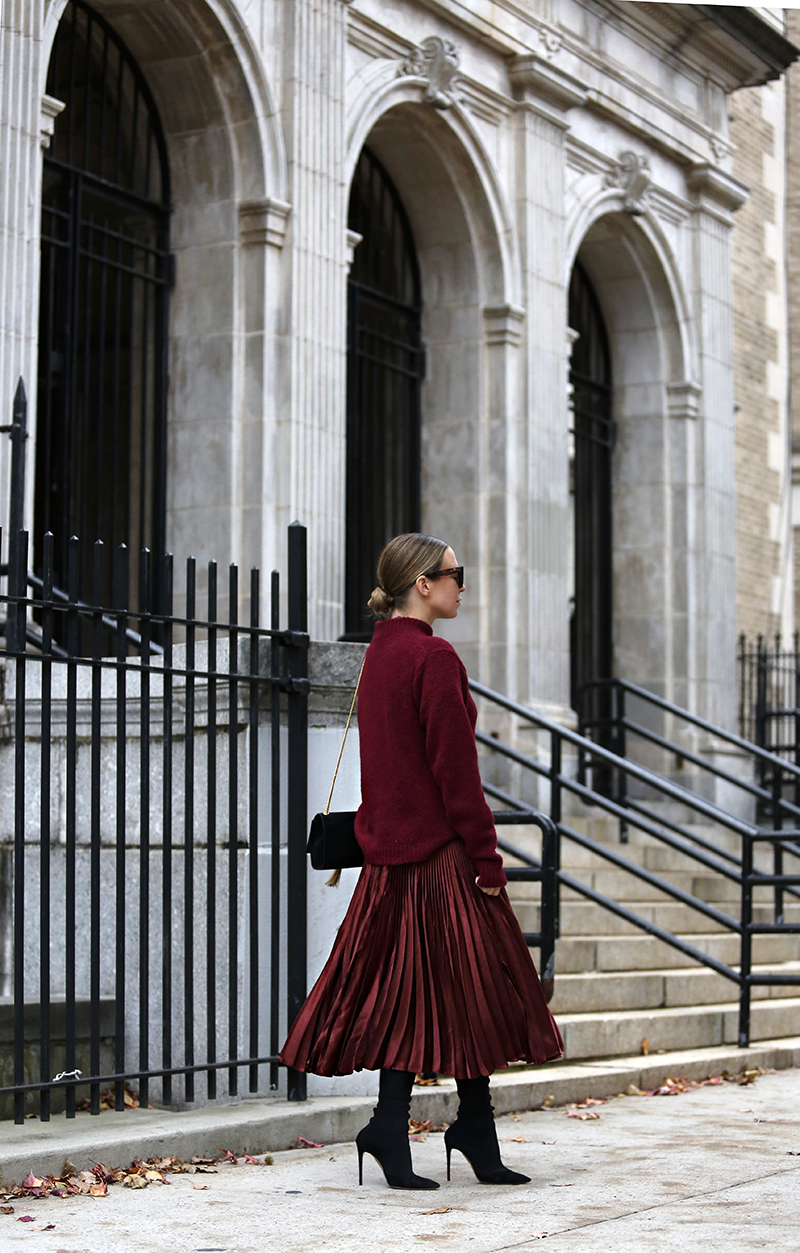 Holiday Dressing, Burgundy Monochromatic Outfit, Helena of Brooklyn Blonde