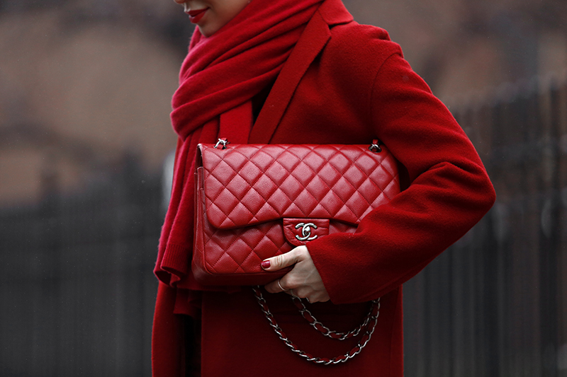 Chanel Red Jumbo Caviar Bag, Helena of Brooklyn Blonde