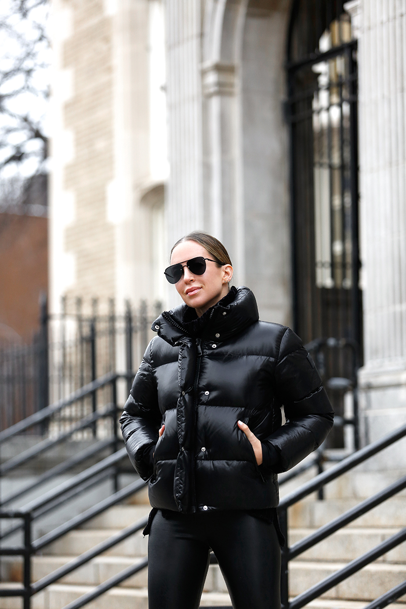 Black Puffer Jacket and Black Leggings