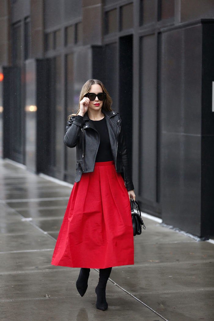 Holiday Dressing: Leather Jacket & a Red Full Skirt
