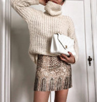 Sweater: Mango (wearing a small) | Skirt: Club Monaco (old) | Bag: Vintage Chanel via Shopbop