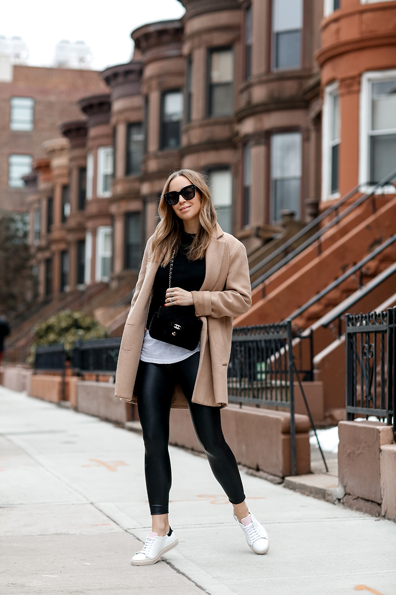 A Casual Look - Commando Faux Leather Leggings, Camel Coat by Helena of Brooklyn Blonde
