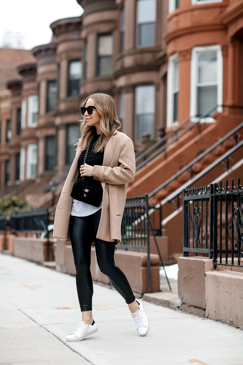 Weekend Casual Style: Commando Faux Leather Leggings, Axel Arigato Sneakers, Camel Coat