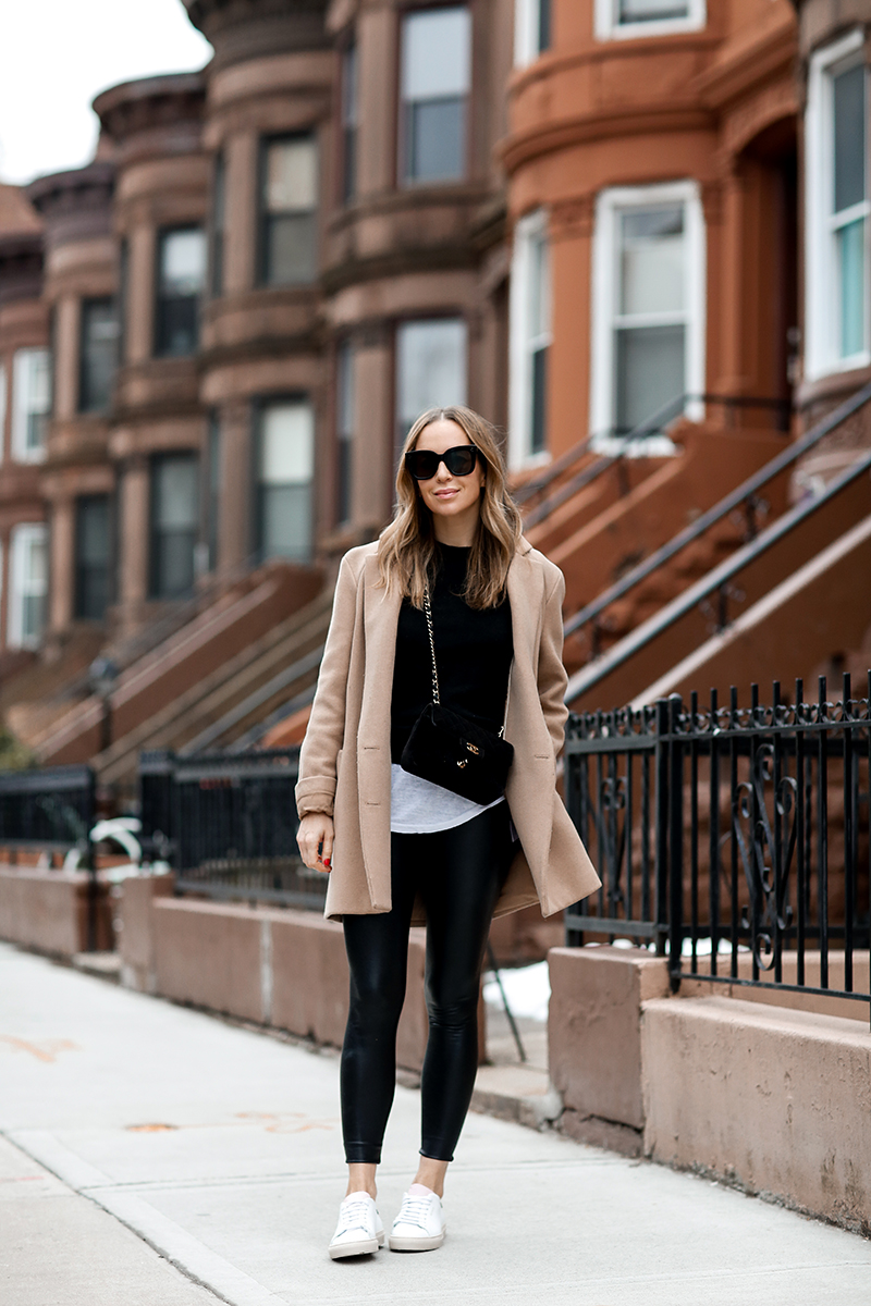 Weekend Casual Style - Commando Faux Leather Leggings, Camel Coat by Helena of Brooklyn Blonde