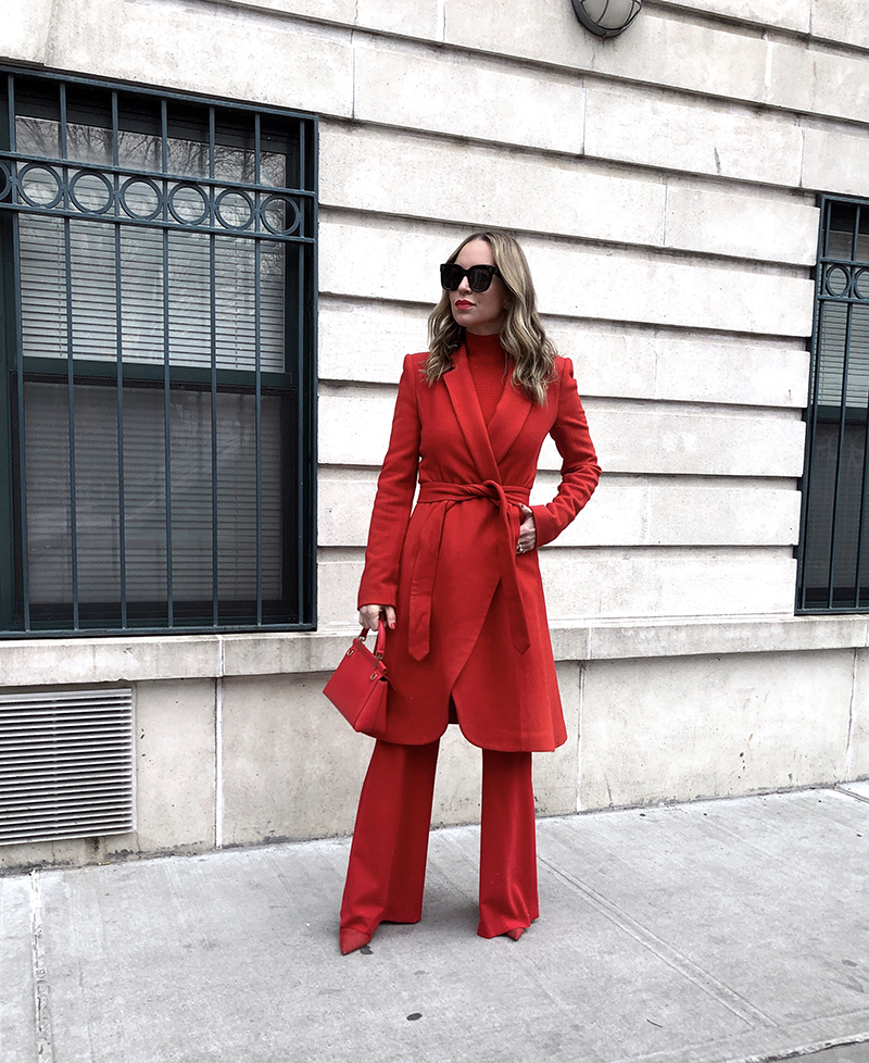 Alice+Olivia Karley Mock Neck Red Wrap Coat, Alice+Olivia Paulette Slim High Waist Red Pant, Alice+Olivia Lanie High Neck Red Pullover, All Red Outfit, NYFW 2019, Helena of Brooklyn Blonde