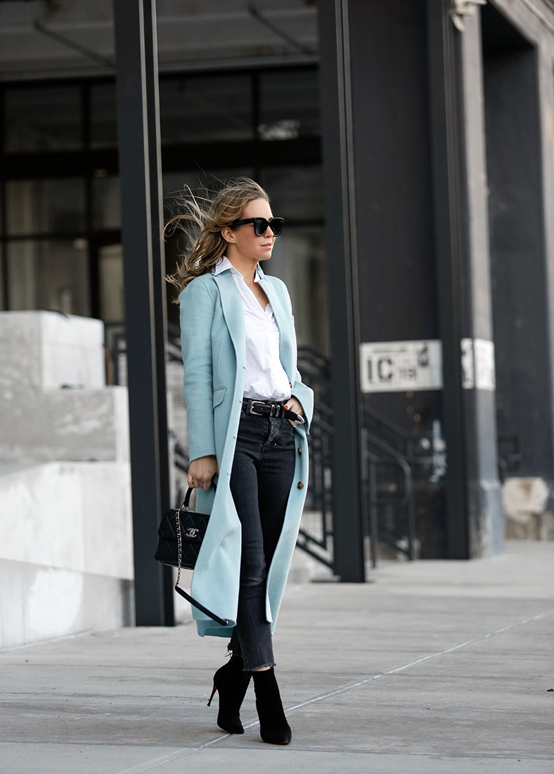 Elizabeth & James Blue Wool Trench Coat, Winter Street Style, Helena of Brooklyn Blonde