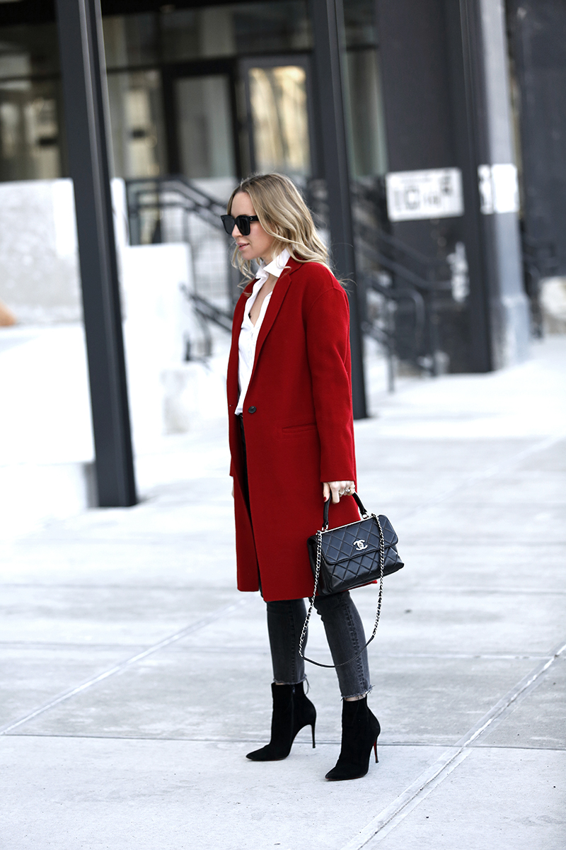 Vince Red Wool Coat, Chanel Trendy CC Bag, Winter Style, Helena of Brooklyn Blonde