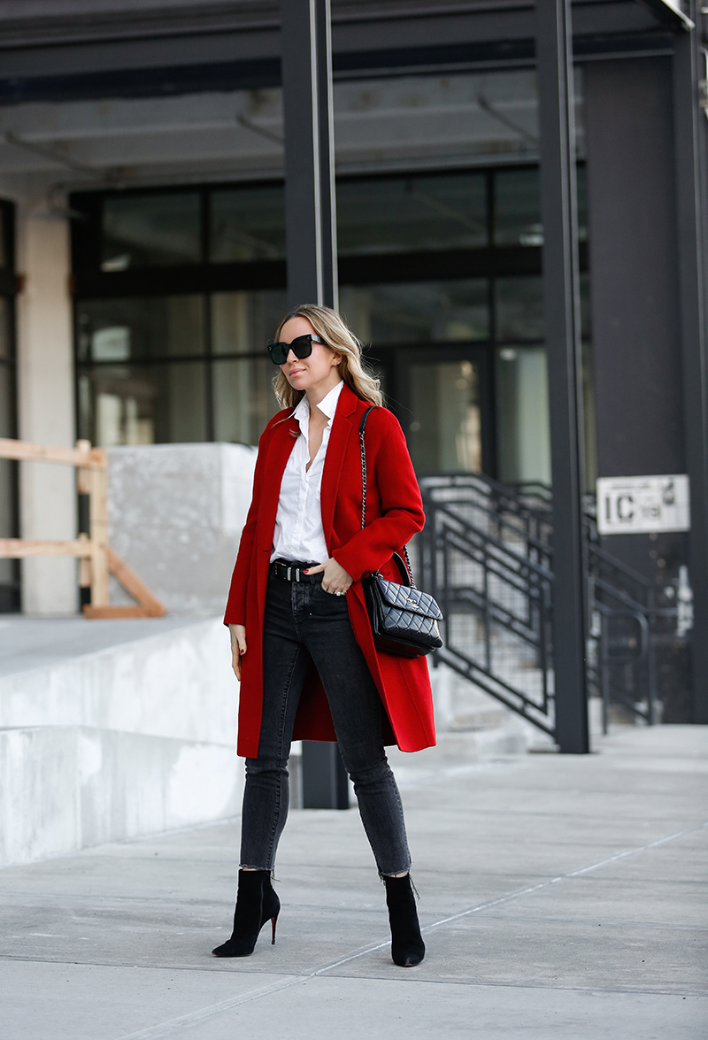 Vince Red Wool Coat, Dark Wash Raw Hem Skinny Jeans, Winter Style, Helena of Brooklyn Blonde