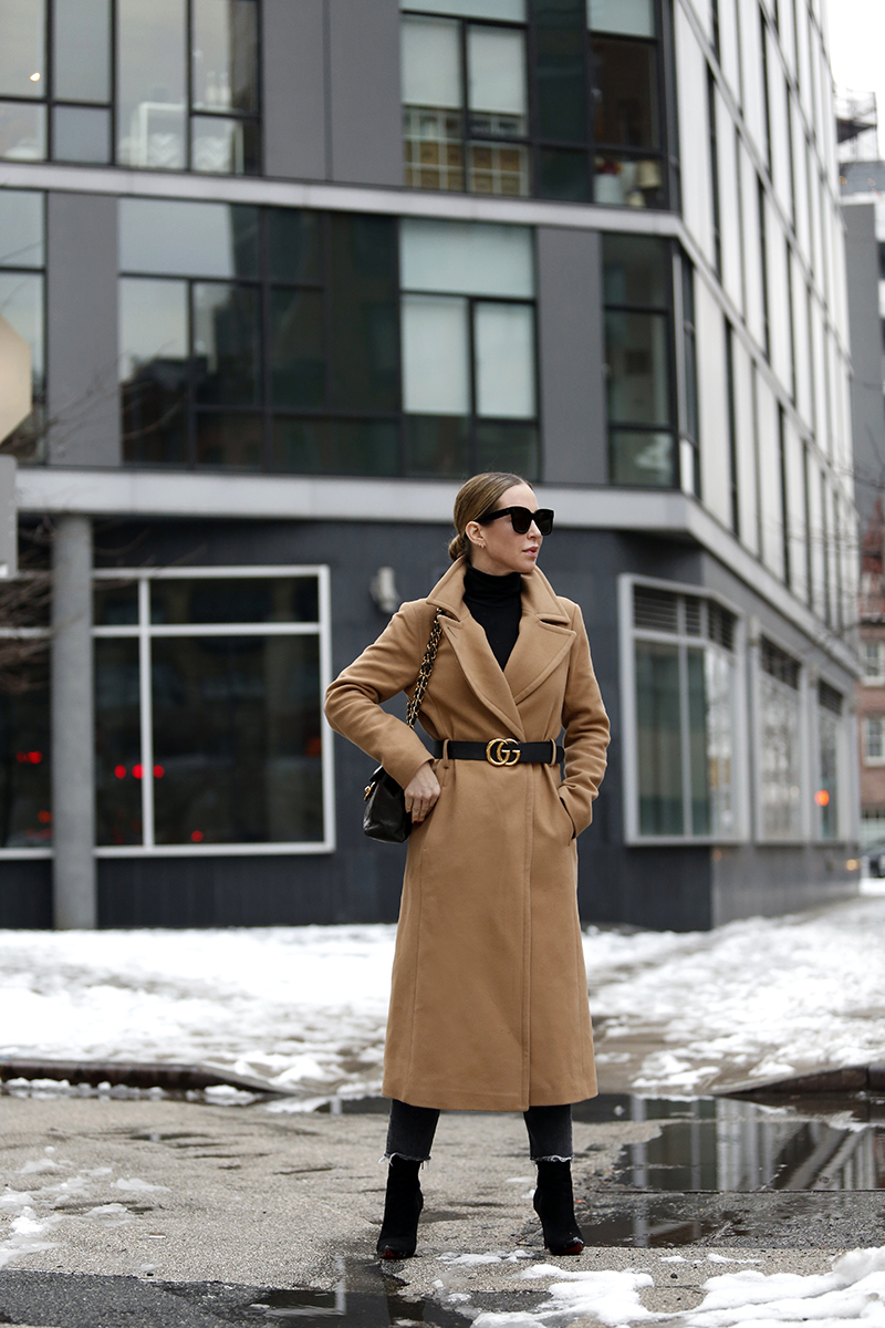 Outfit details: Mackage Babie Camel Coat, Gucci Marmont Belt, Classic Camel Coat Outfit by Helena of Brooklyn Blonde