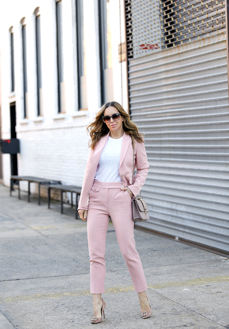 Veronica Beard Pink Suit, Manolo Blahnik Pink Satin Heels, Spring Outfit by Helena of Brooklyn Blonde
