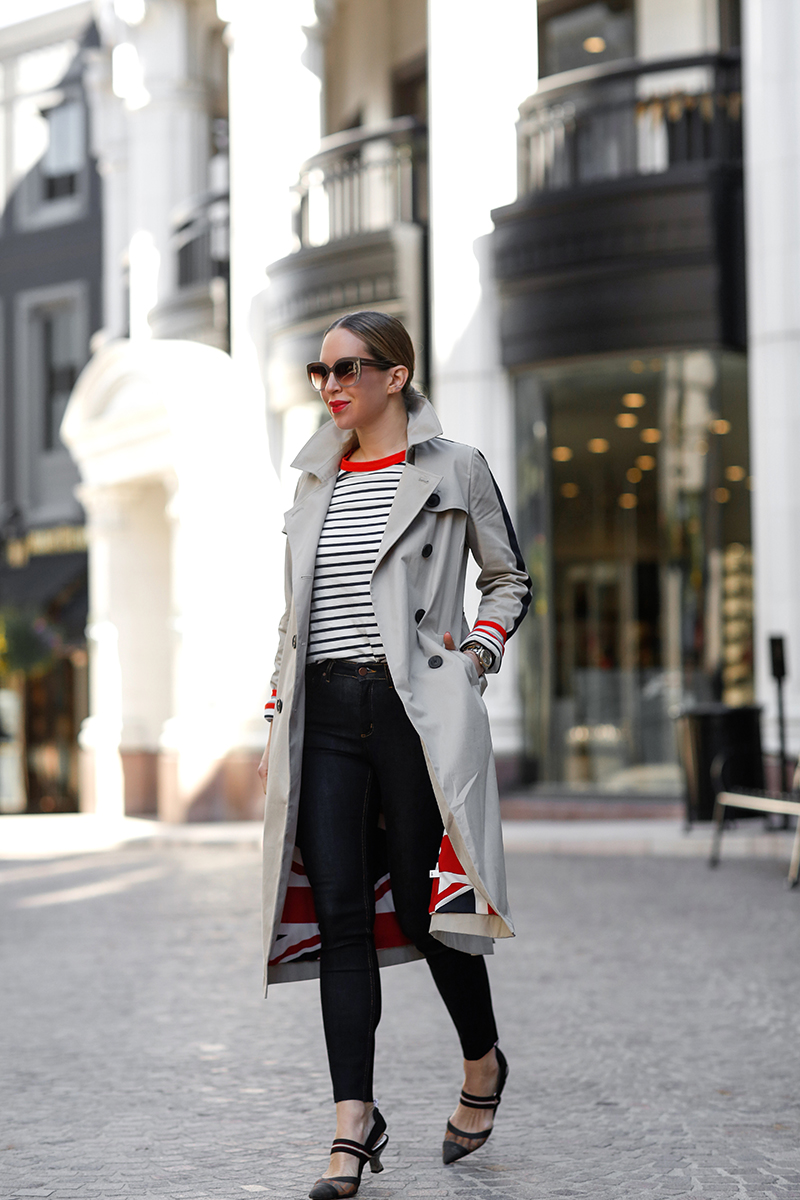 Boden Whitstable Trench Coat in Khaki, Boden Striped Crew Neck Breton Tee, Boden Mayfair Modern Skinny Jeans, Fendi Mesh Slingback Pumps, Helena of Brooklyn Blonde