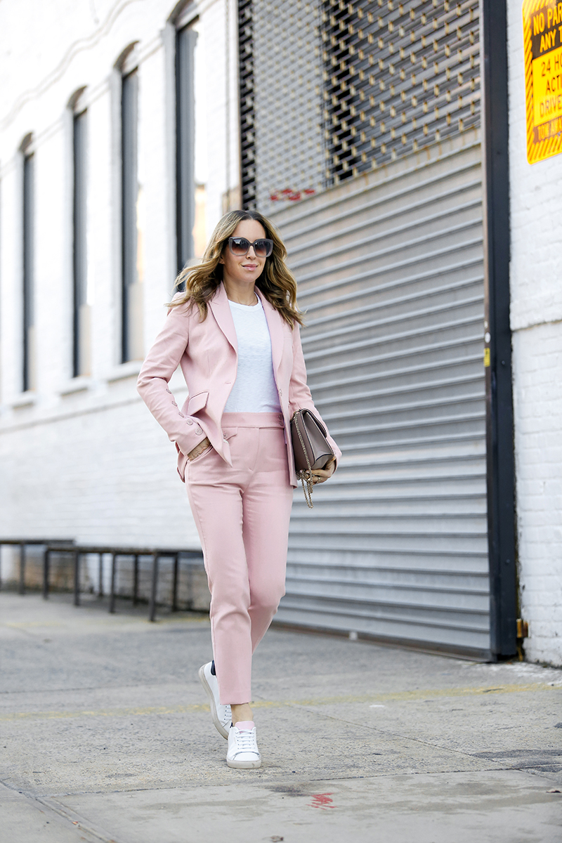 Veronica Beard Pink Suit, Axel Arigato Sneakers, Spring Outfit, Helena of Brooklyn Blonde