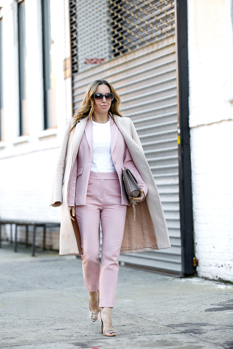 Veronica Beard Pink Suit, Spring Outfit, Helena of Brooklyn Blonde