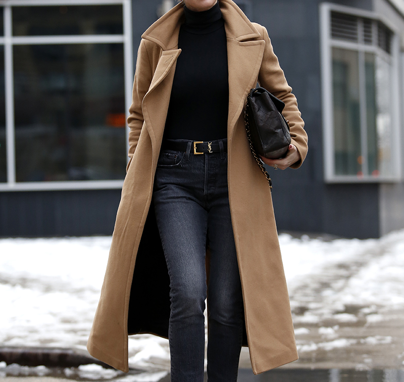 Brooklyn Blonde is featuring the Mackage Babie Camel Coat and YSL Saint Laurent Belt
