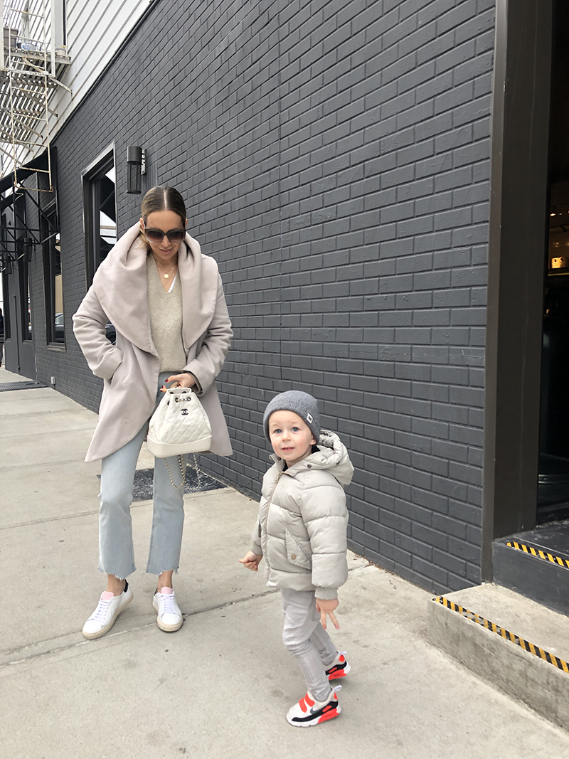Styling Sneakers: Three Easy (Mom) Outfits - Coat, sweater and jeans
