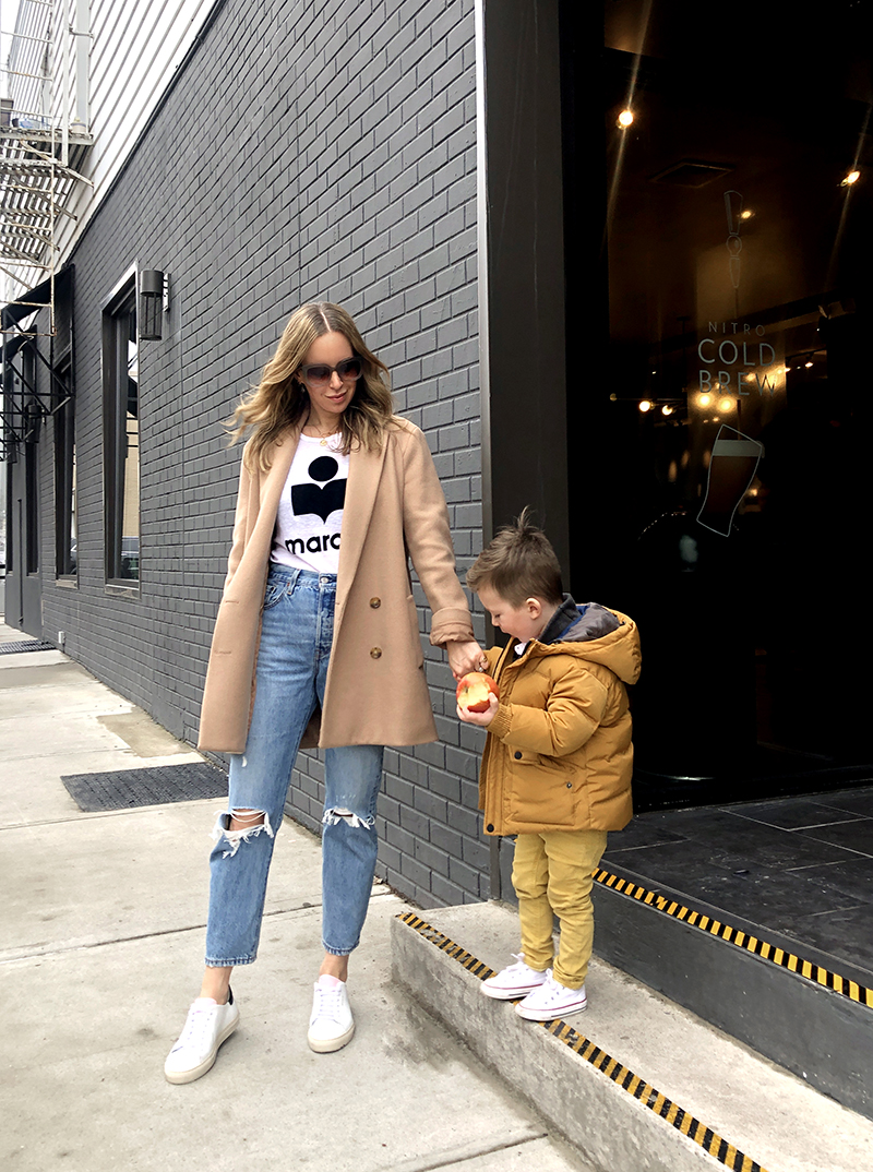 Styling Sneakers: Three Easy (Mom) Outfits - camel coat, jeans and tee