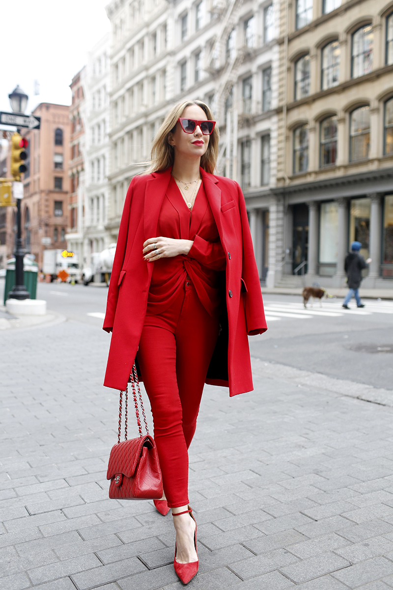 red monochromatic outfit, all red outfit, L'Agence Red Margot Jean, L'Agence Red Mariposa Blouse, Helena of Brooklyn Blonde