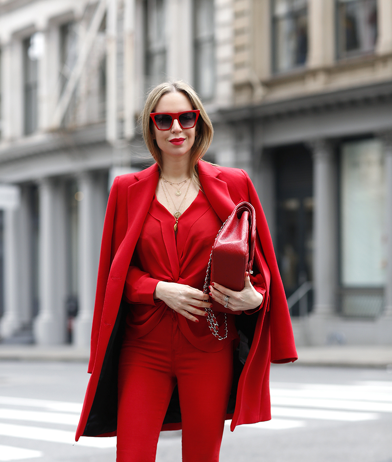 all-red monochrome outfit