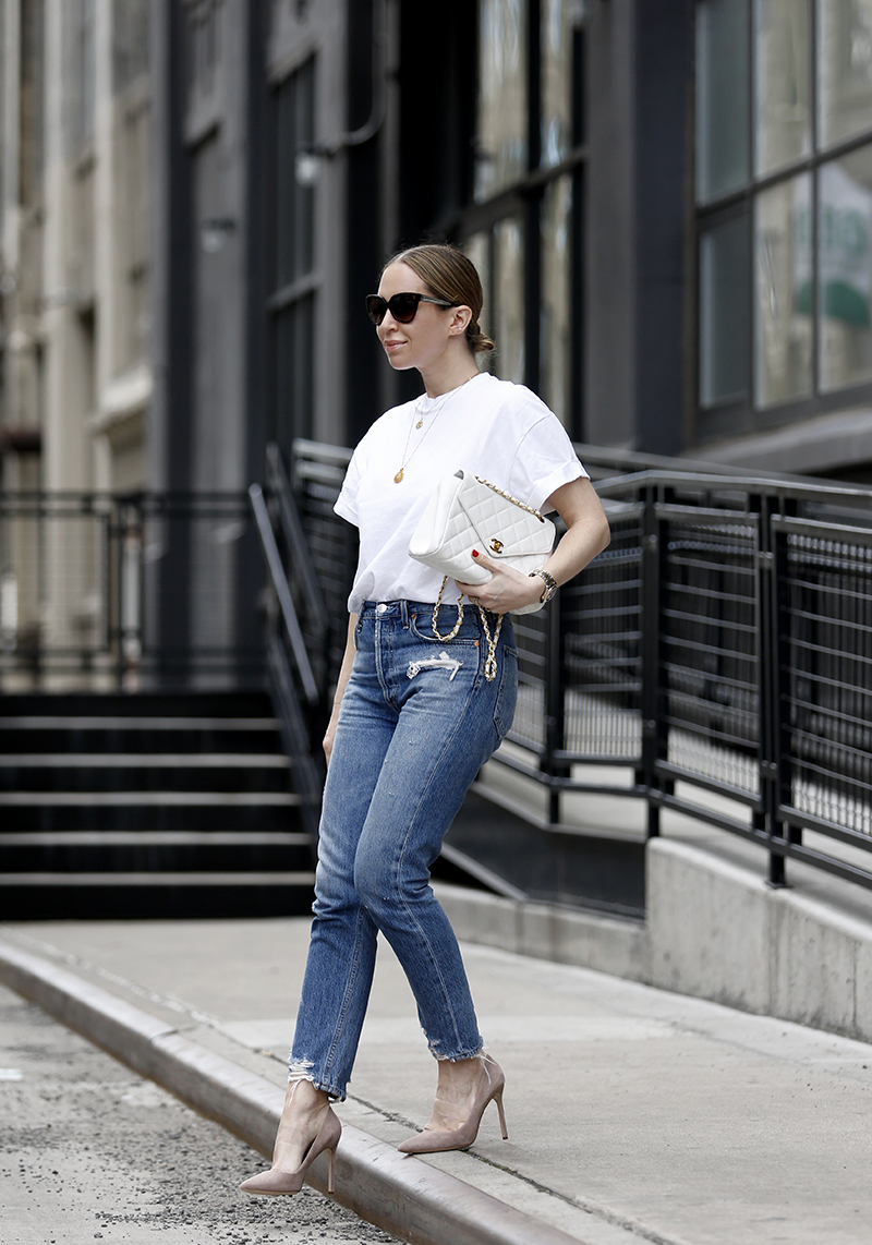 Casual Spring Outfit details: Topshop White Tee, AGolde Jaime High-Rise Classic Jeans, Manolo Blahnik BB Pointy Toe Taupe Suede Pump, Chanel White Bag, Helena of Brooklyn Blonde