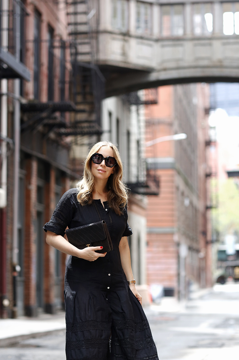 LOVESHACKFANCY Black Edie Dress, Colors in Optics Marais Sunglasses, Summer Outfit Idea, Helena of Brooklyn Blonde