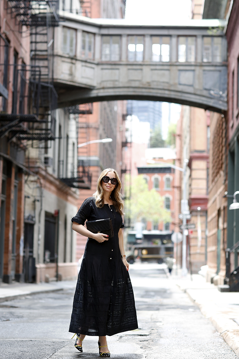 A Black Dress for Spring Summer, Malone Souliers Maureen Polka Dot Mules, Summer Outfit Idea, Helena of Brooklyn Blonde