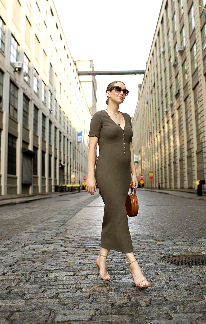 Helena of Brooklyn Blonde's outfit details: Free People Olive Lulu Henley Midi Dress, Mansur Gavriel Circle Bag, Schutz Cadey Lee Sandals