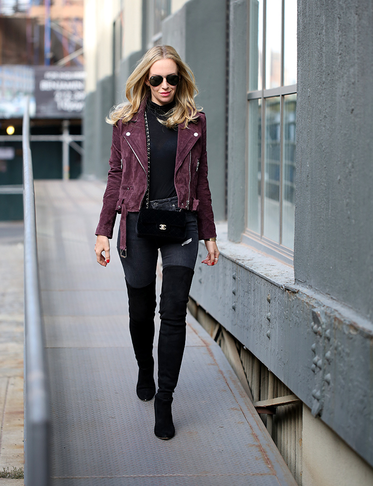 How To Style Burgundy Suede Moto Jacket Brooklyn Blonde