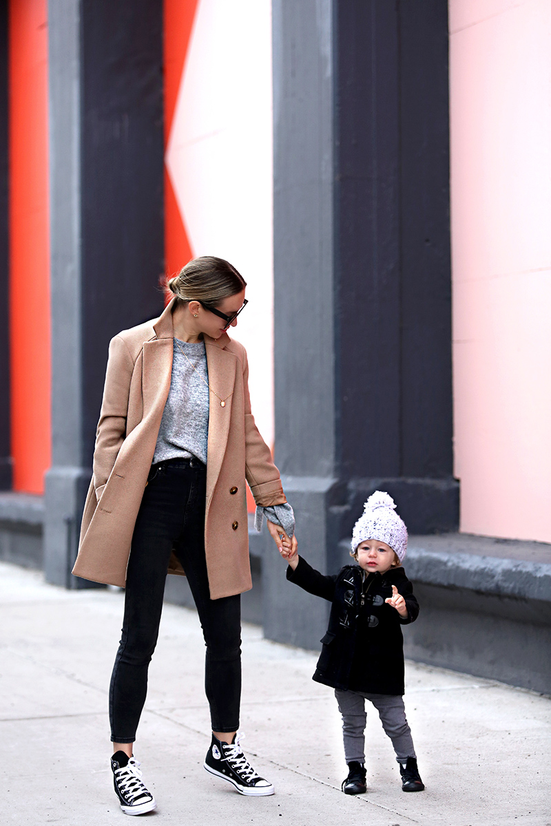 Theory Camel Coat, Fall Coat Style, Winter Mommy & Me Style, Helena of Brooklyn Blonde