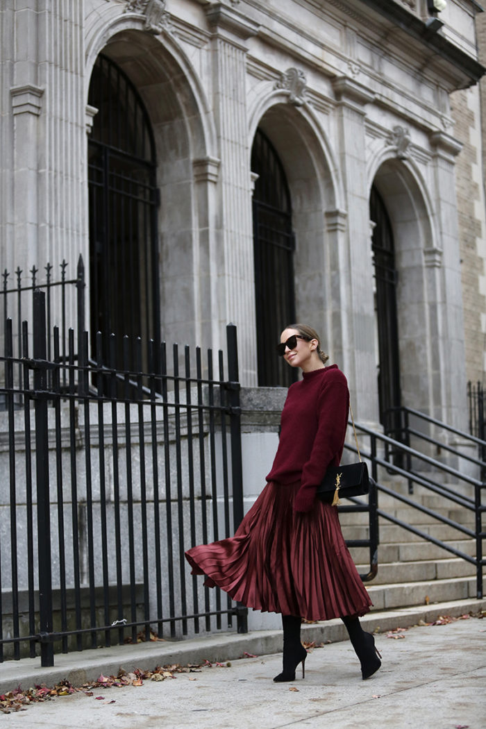 burgundy winter outfit