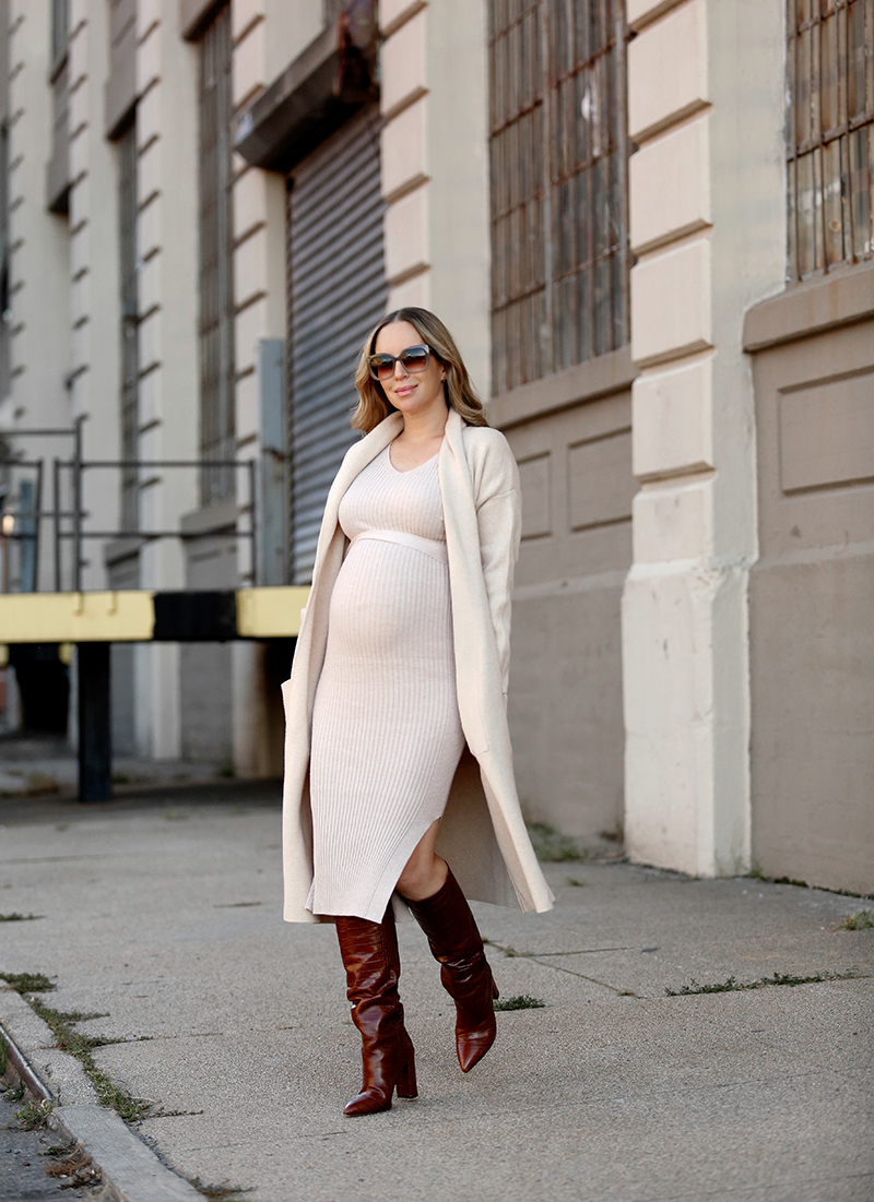 Mango Knitted Unstructured Camel Coat, Mango Sand Belt Ribbed Dress, Paris Texas Mock's Croco High Boots, One Dress Two Ways in Boots, Fall Maternity Style, Helena of Brooklyn Blonde