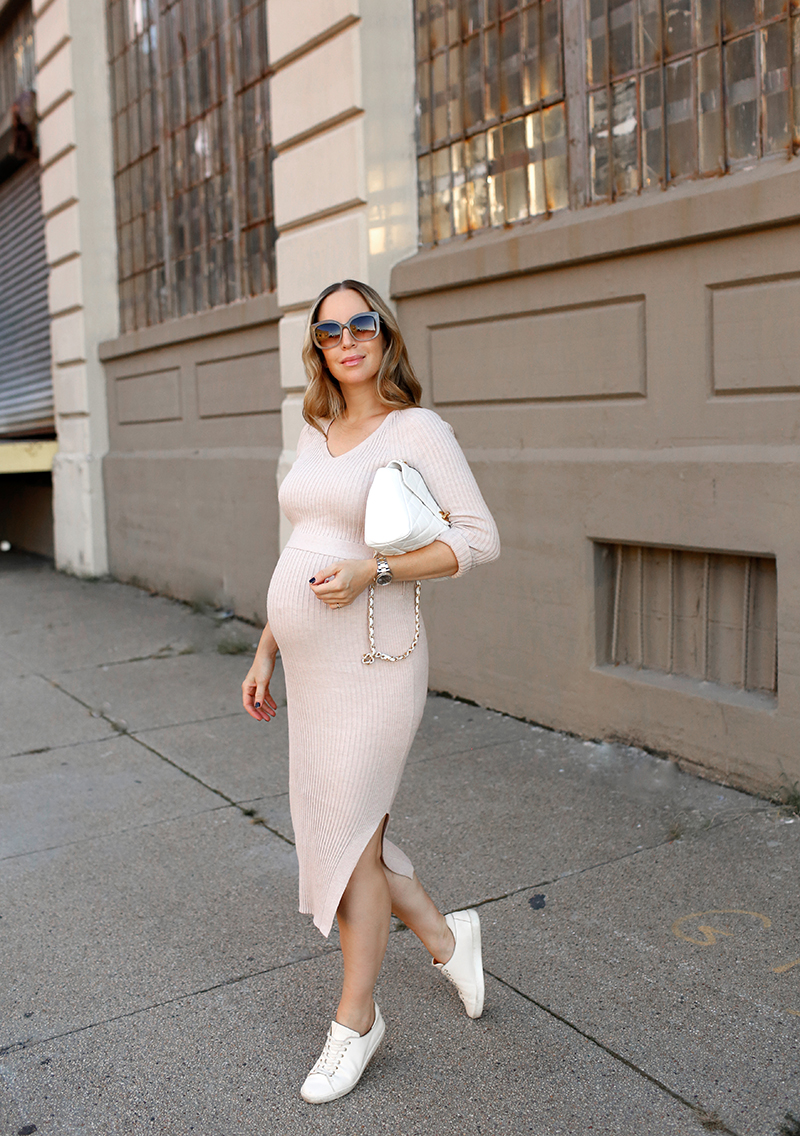 Mango Sand Belt Ribbed Dress, Sezane Jack Sneakers, One Dress Two Ways in Sneakers, Fall Maternity Style, Helena of Brooklyn Blonde