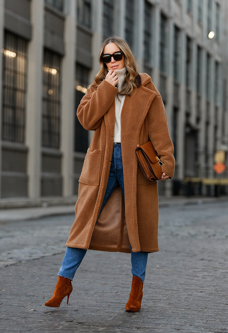 Verishop, Billie the Label Bronte Shearling Trench Coat, Teddy Coat, Camel Outfit, Helena of Brooklyn Blonde