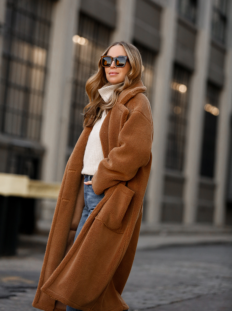 Verishop, Billie the Label Bronte Shearling Trench Coat, Teddy Coat, Helena of Brooklyn Blonde